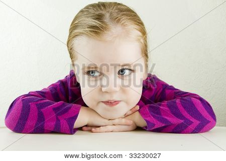 Single Lone Girl Lost In Thought At The Table