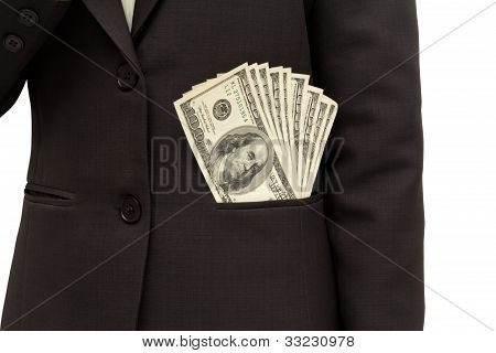 Dollar Bills U.s. In Suit Pocket.