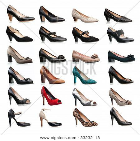 Collection of various types of female shoes