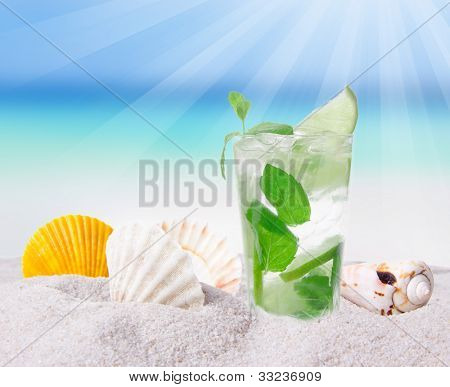 Fresh mojito drink on the beach