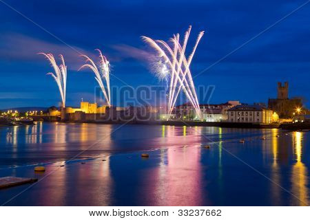 Fireworks over King John Castle in Limerick, Ireland