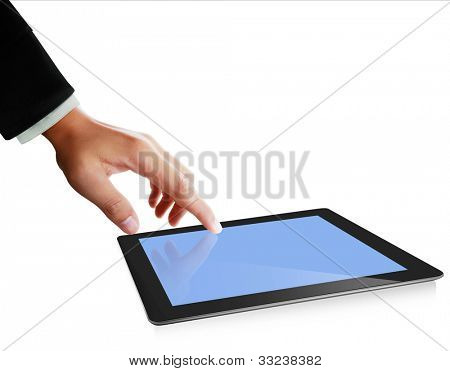 hands are pointing on touch screen ,touch- tablet isolated on white background
