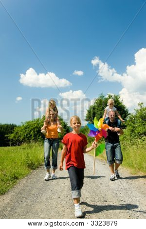 Family Having A Walk