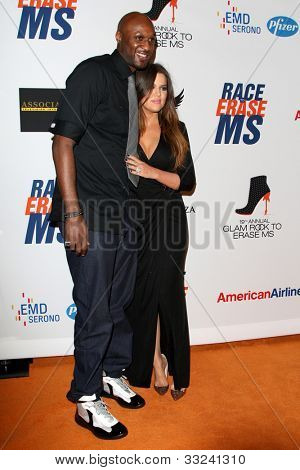 LOS ANGELES - MAY 18:  Lamar Odom, Khloe Kardashian arrives at the 19th Annual Race to Erase MS gala at Century Plaza Hotel on May 18, 2012 in Century City, CA