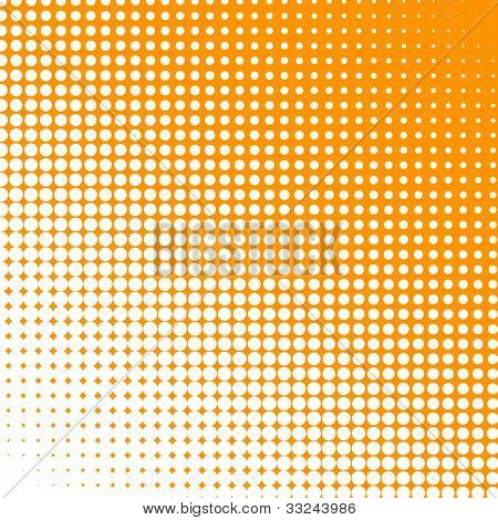 White dots changing form against an orange background