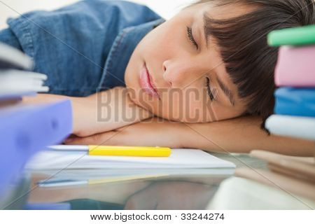 Female student sleeping among her books on her desk
