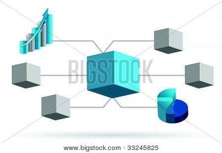 3d box diagram illustration design over white background