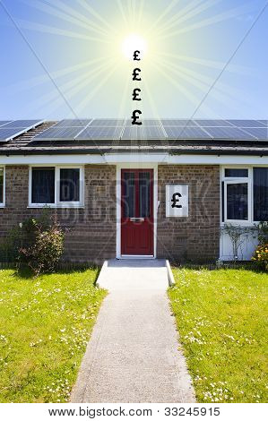 solar panels on the roofs of bungalows with pound signs energy