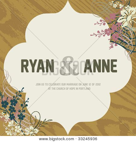 Vector Wood Background and Ornate Frame. Easy to edit. Perfect for invitations or announcements.