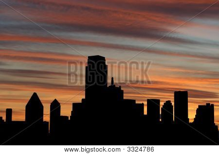 Dallas Skyline bei Sonnenuntergang
