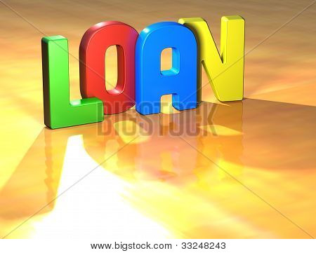 Word Loan On Yellow Background