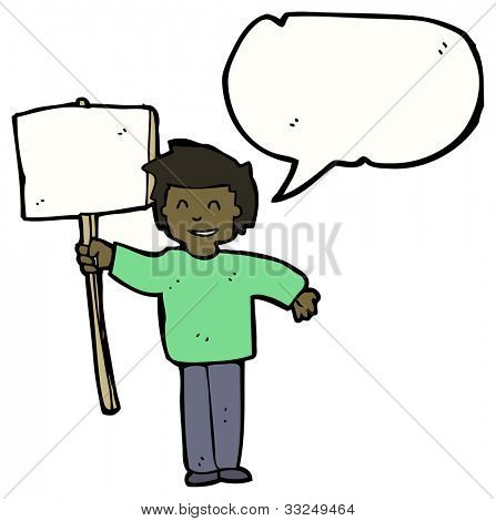 cartoon man with blank sign