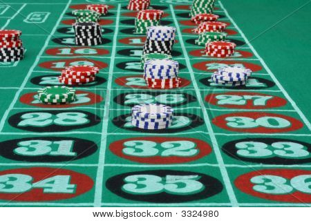 Roulet Table With Bets.