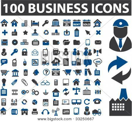 100 business icons set, vector