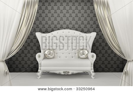 Luxurious Sofa With Pillows Before Wall Ornament. Armrest