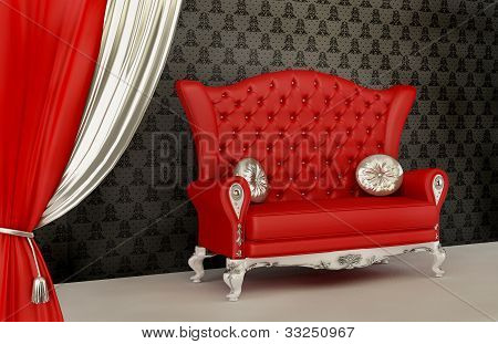 Opened Curtain And Modern Sofa With Pillow In Interior With Ornament Wallpaper