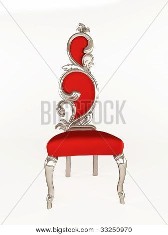 Luxurious Chair With Curve Frame Isolated On White Background