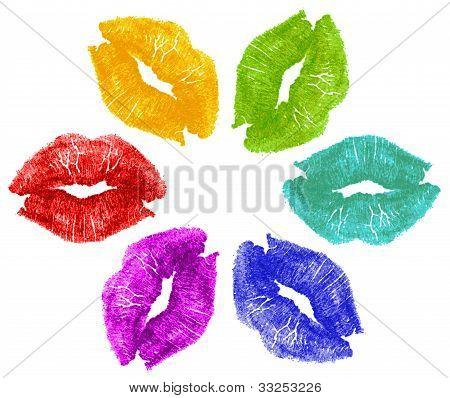 Beijos de batom na cor