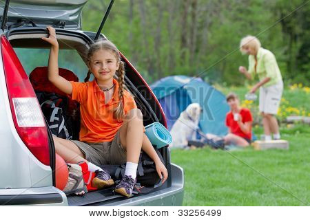 Family adventure, summer holiday - family on summer camp