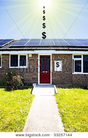 solar panels on the roofs of bungalows with dollar signs energy
