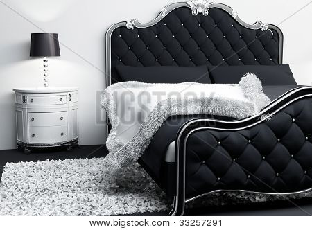 Luxurious Furniture In Bedroom Interior. Modern Bed With Pillows And Covering