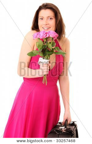 A picture of a young woman with a bunch of pink roses over white background