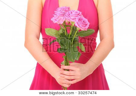 A picture of a woman with a bunch of pink roses over white background