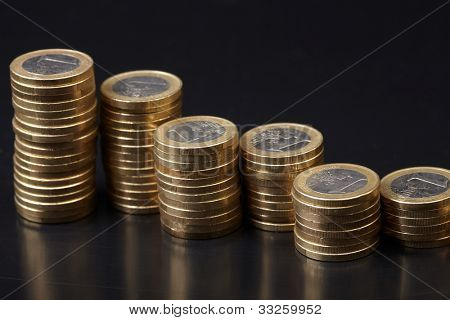 coins on the black