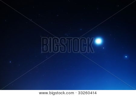 Stars with Moon and planets Jupiter and Venus