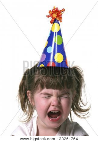 Child Throwing a Tantrum Wearing a Birthday Hat