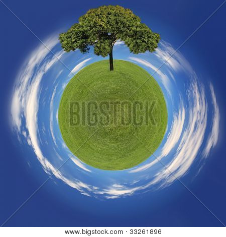 Eco Friendly Image of Grass Planet and Tree