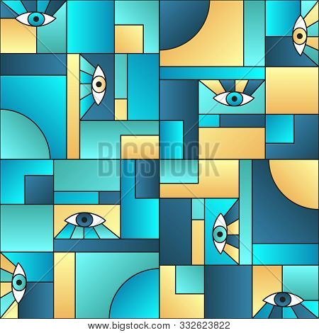 poster of Colorful Pattern With Eyes In Geometric Shapes Grid 80s And 90s Vintage Fashion Fabric Print. Decora