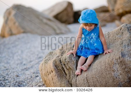 Little Girl At Beach