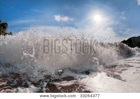 Big Wave Front With Bubbles And Splashes