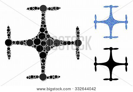 poster of Copter Mosaic Of Circle Elements In Various Sizes And Shades, Based On Copter Icon. Vector Filled Ci