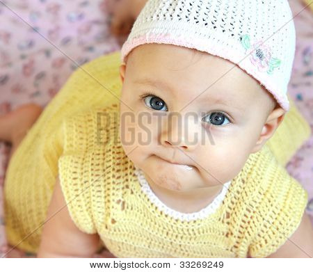 Closeup Portrait Of Beautiful Funny Girl With Blue Eyes Looking