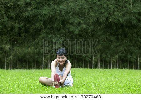Beautiful Woman Exercising Outdoors