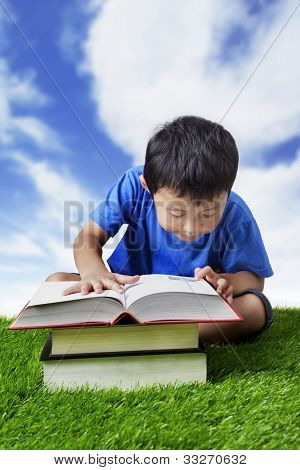 Boy Practice Reading Outdoor