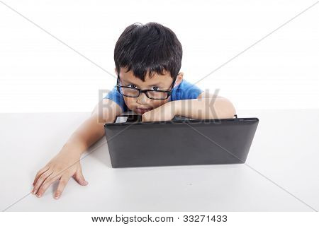 Little Student With Laptop