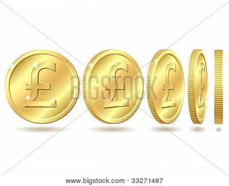 golden coin with pound sterling sign