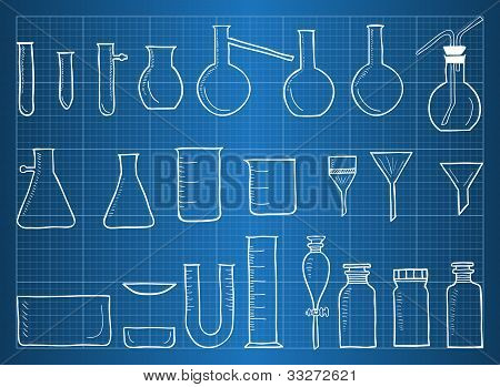 Blueprint Of Chemical Laboratory Equipment