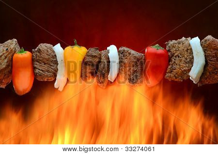 Steak Kabob over Flames