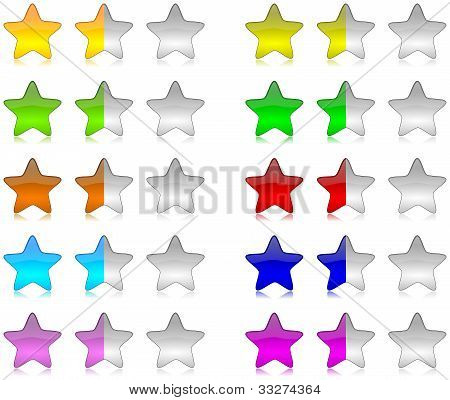 Colorful Rating Stars Set