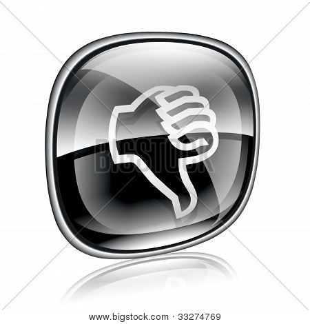 Thumb Down Icon Black Glass On White Background.