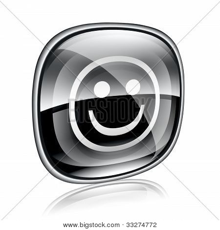 Smiley Black Glass, On White Background.