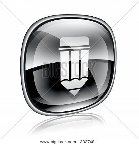 Pencil Icon Black Glass On White Background