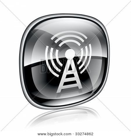Wi-fi Tower Icon Black Glass, On White Background