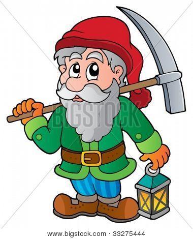 Cartoon dwarf miner - vector illustration.