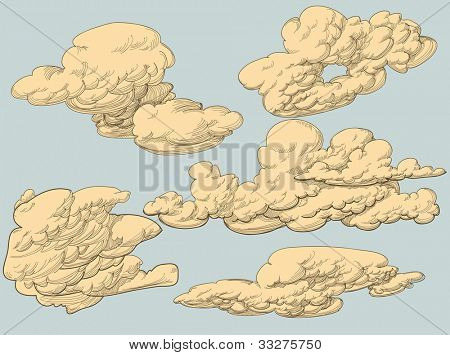 Retro style vector clouds