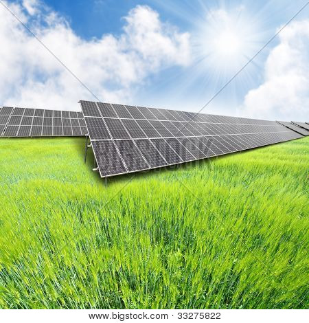 Solar energy panels on a green wheat field. Renewable energy concept.